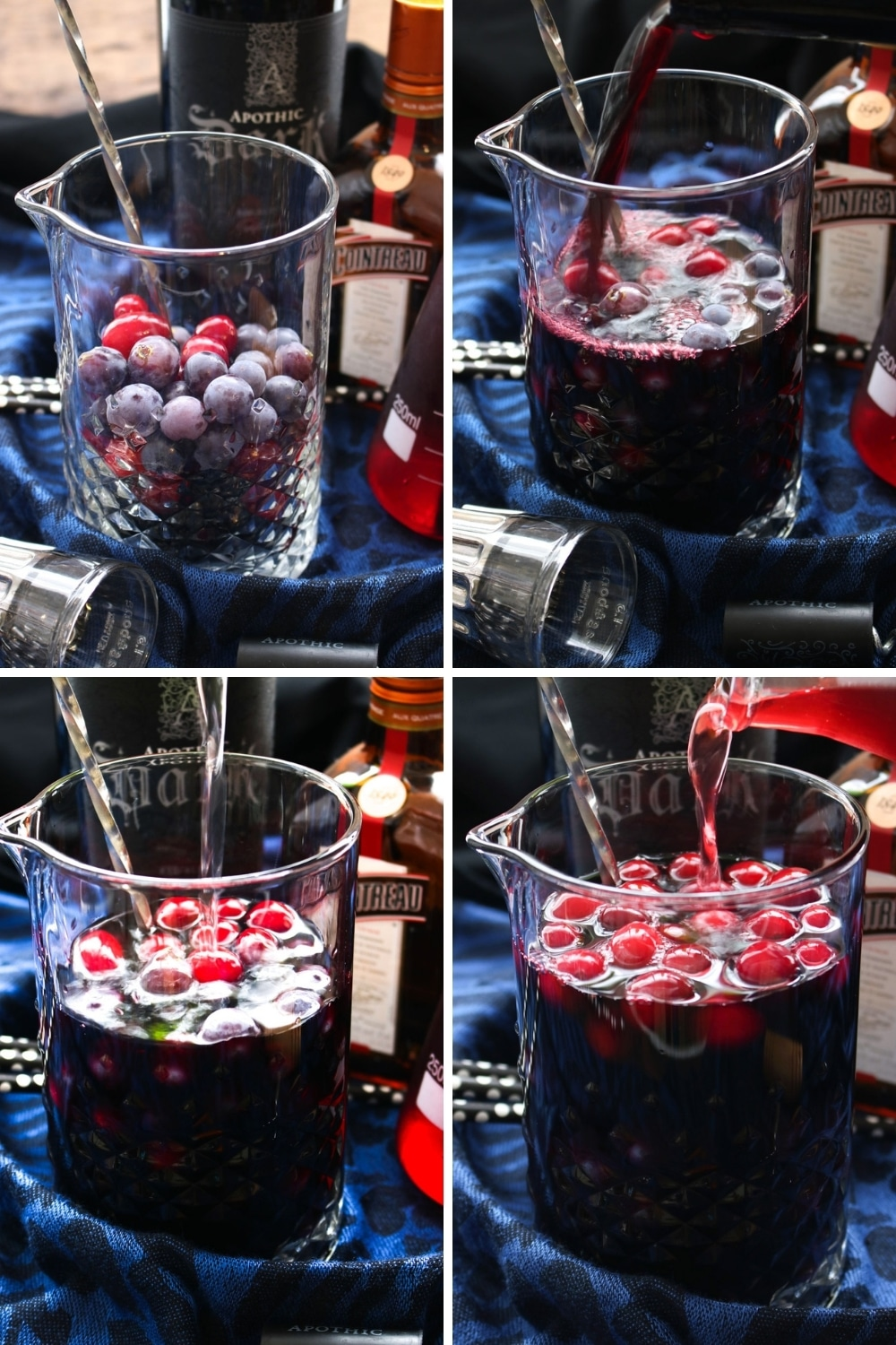 Collage showing how to make black sangria