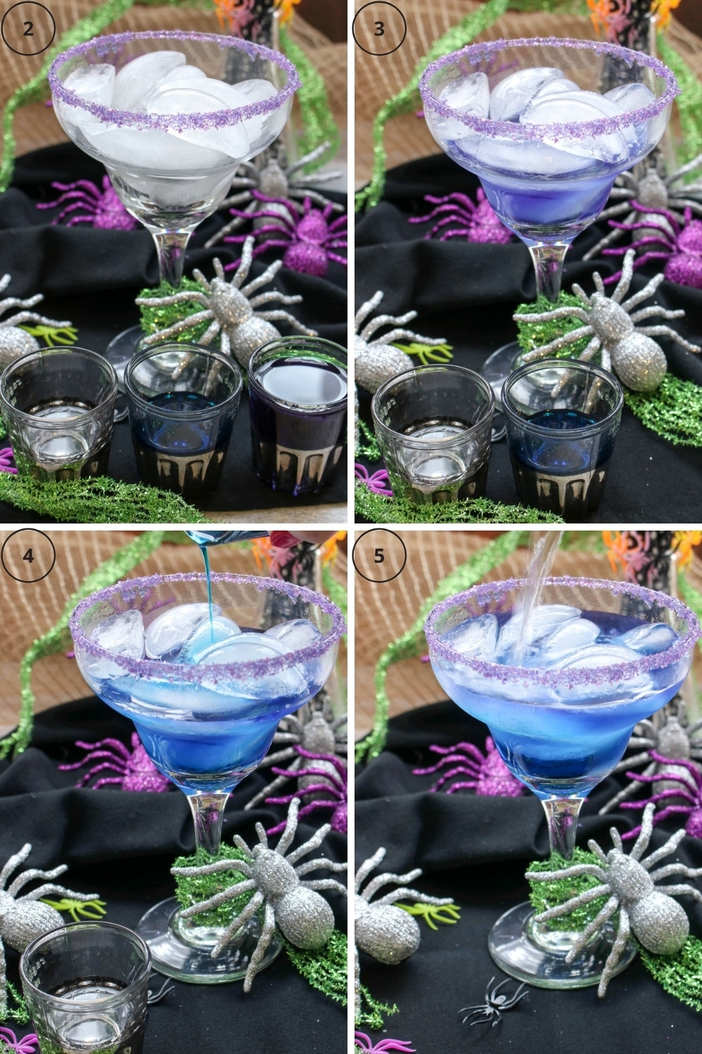 Collage showing the steps to make the gin and tonic cocktail