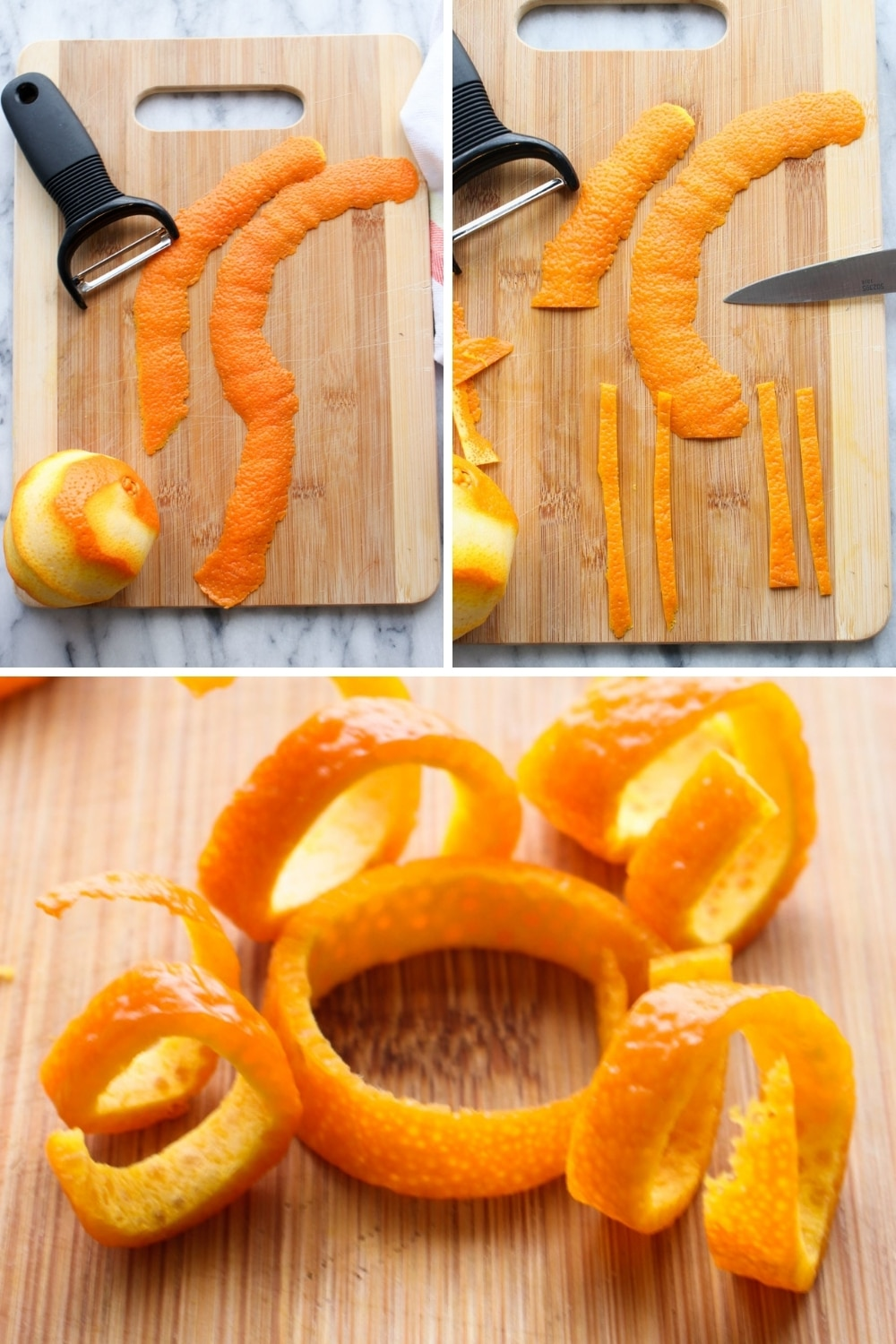 Collage showing steps to make apple cider margarita orange peel curl garnish