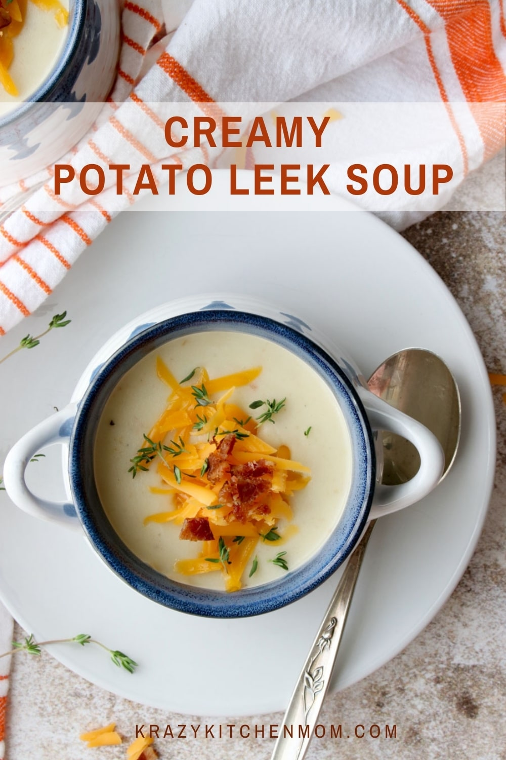 Curl up with a hot bowl of soup loaded with creamy potatoes and leeks topped with cheese and bacon. This hearty soup is made on the stove-top and ready in an hour. It is hearty, hot, and delicious. via @krazykitchenmom