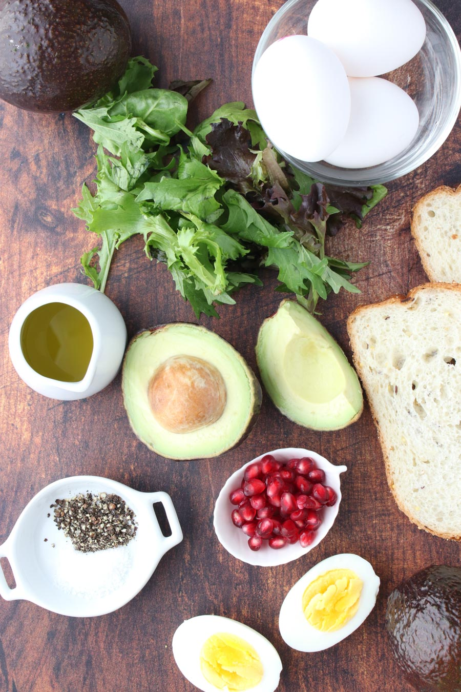 photo showing the ingredient in the avocado egg brunch platter
