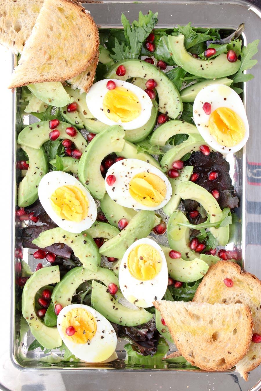 Photo showing the assembled avocado egg brunch platter