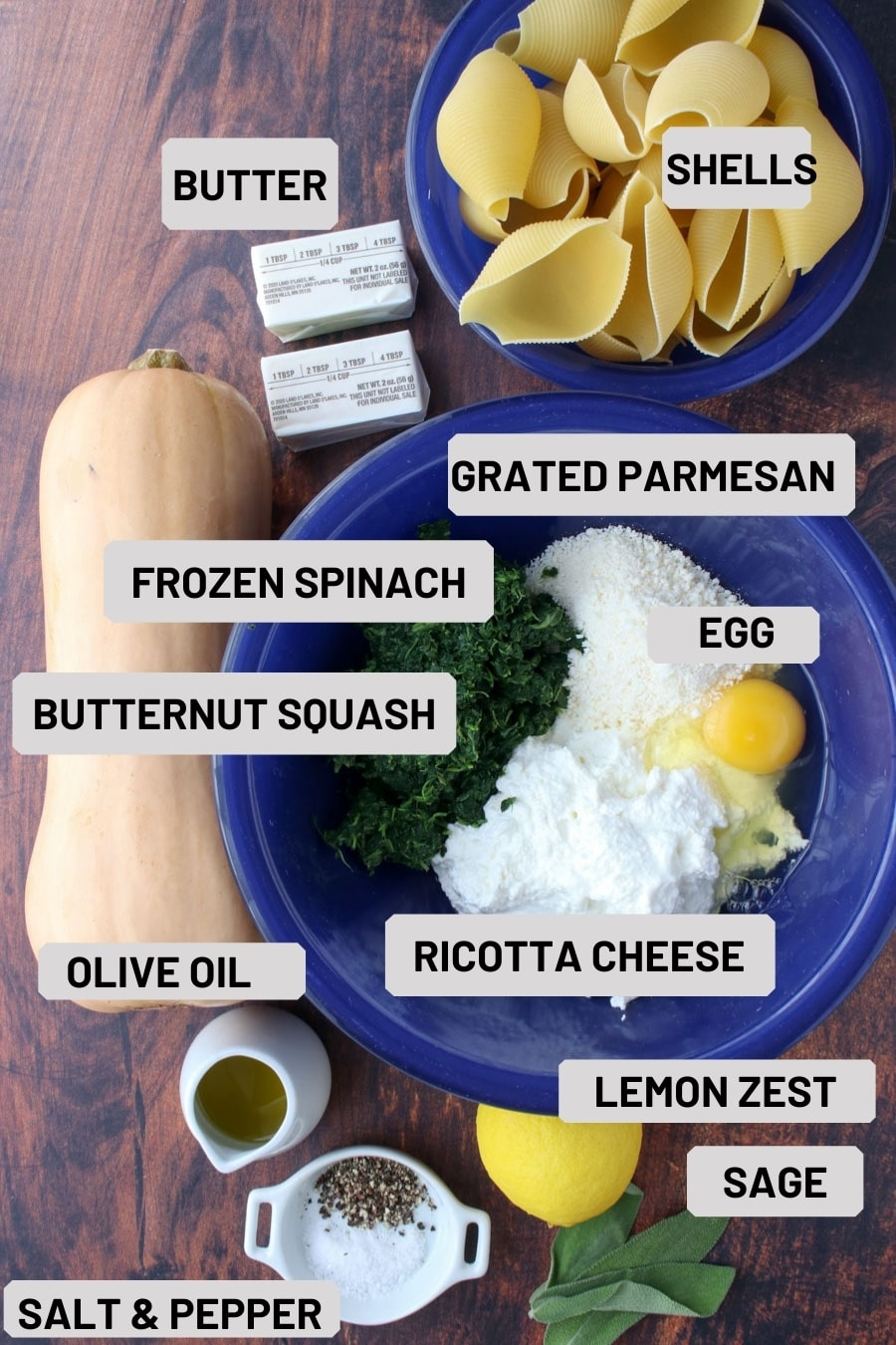 cookie sheet with all of the ingredients needed to make butternut squash stuffed shells