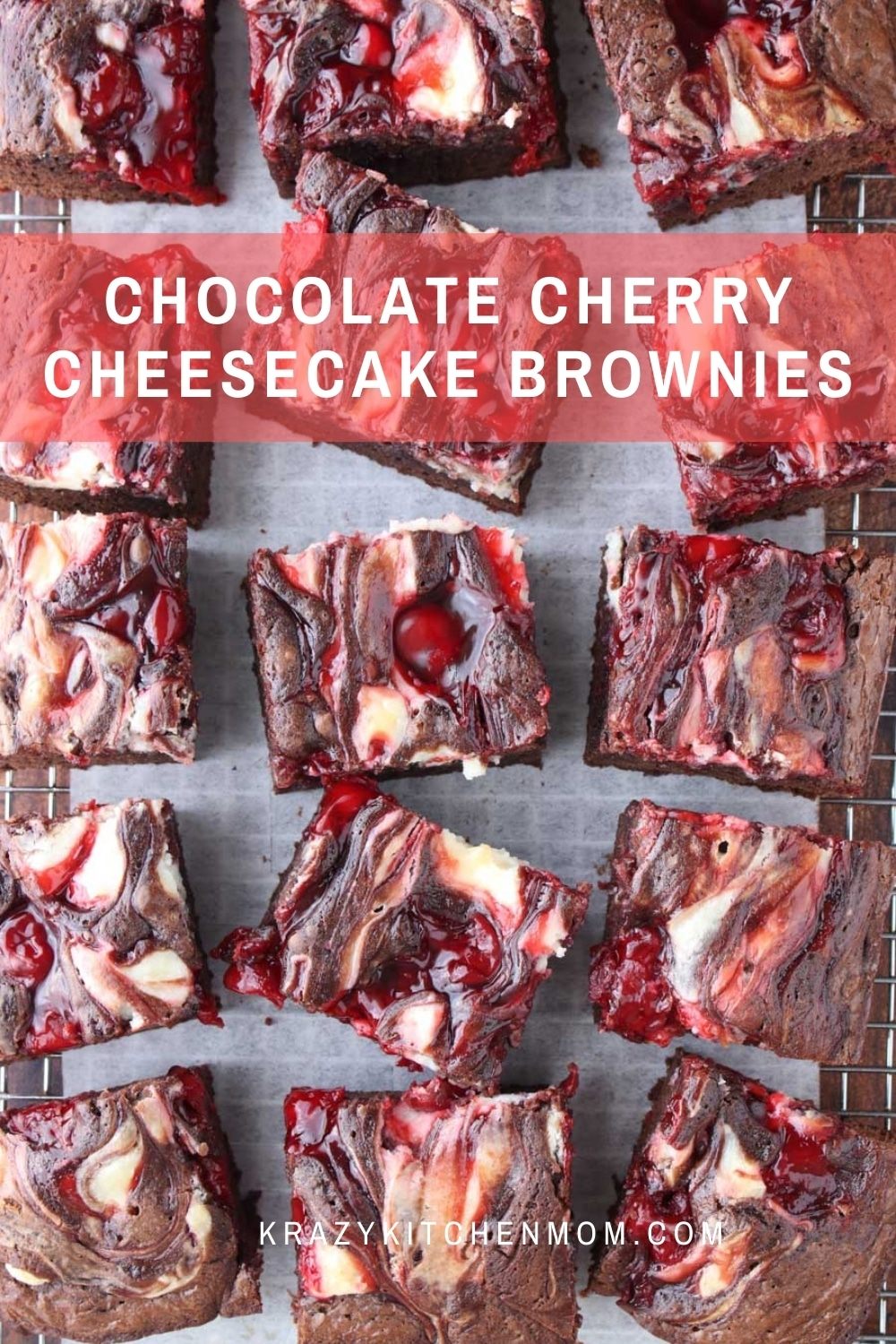 Boxed brownie mix just got a whole lot yummier! These brownies are rich, chewy, and filled with bites of cheesecake and cherries.  via @krazykitchenmom