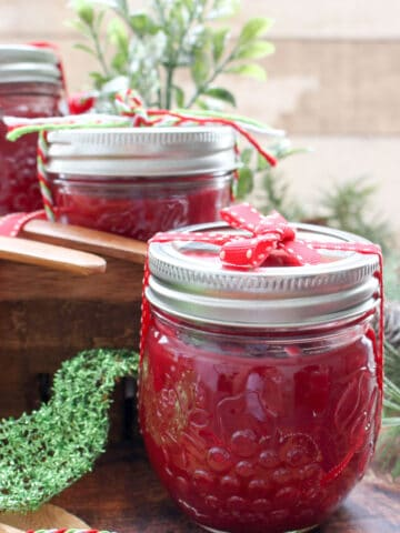 Close up of 1 jar of cranberry apple butter