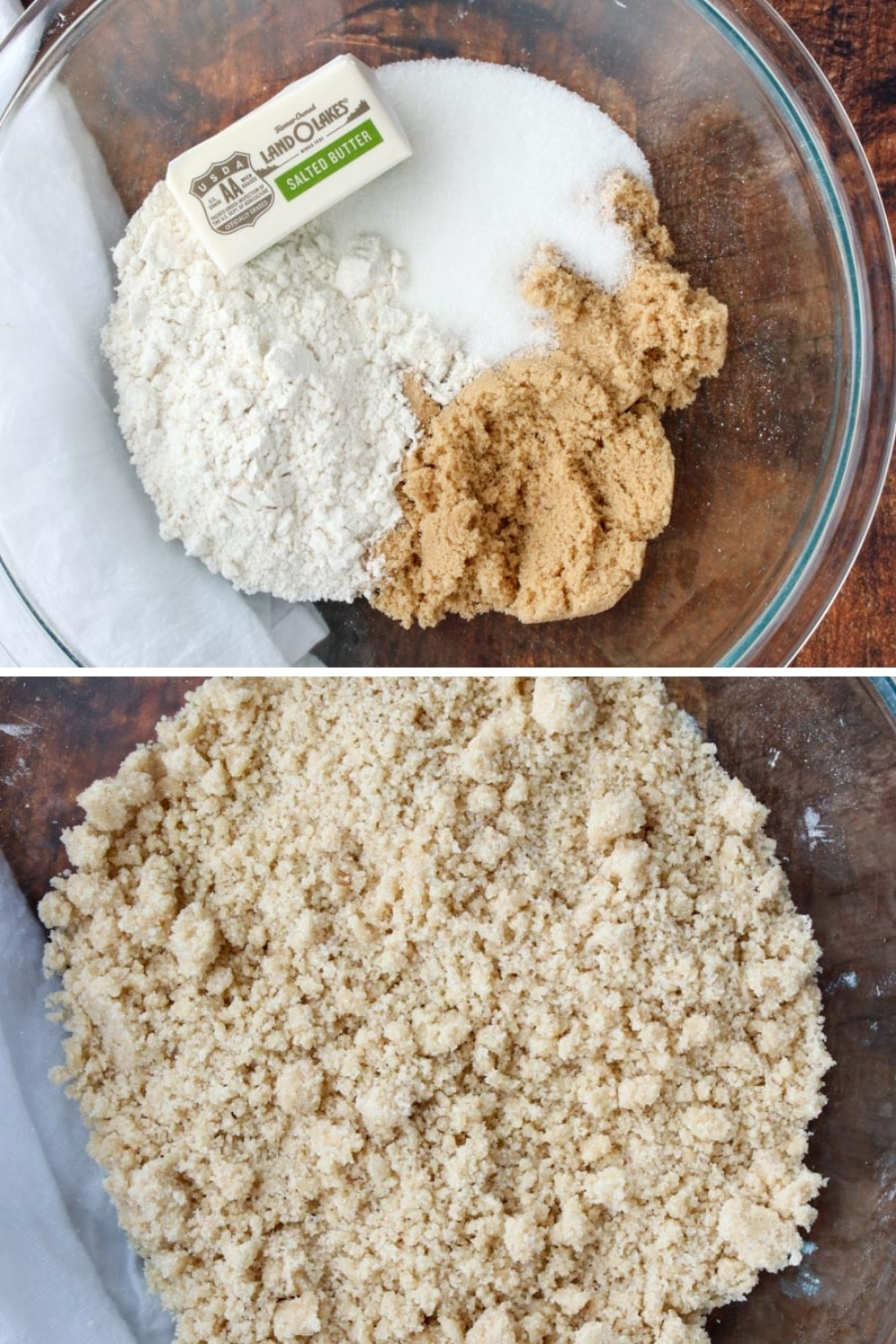 two photos - streusel topping ingredients and mixed