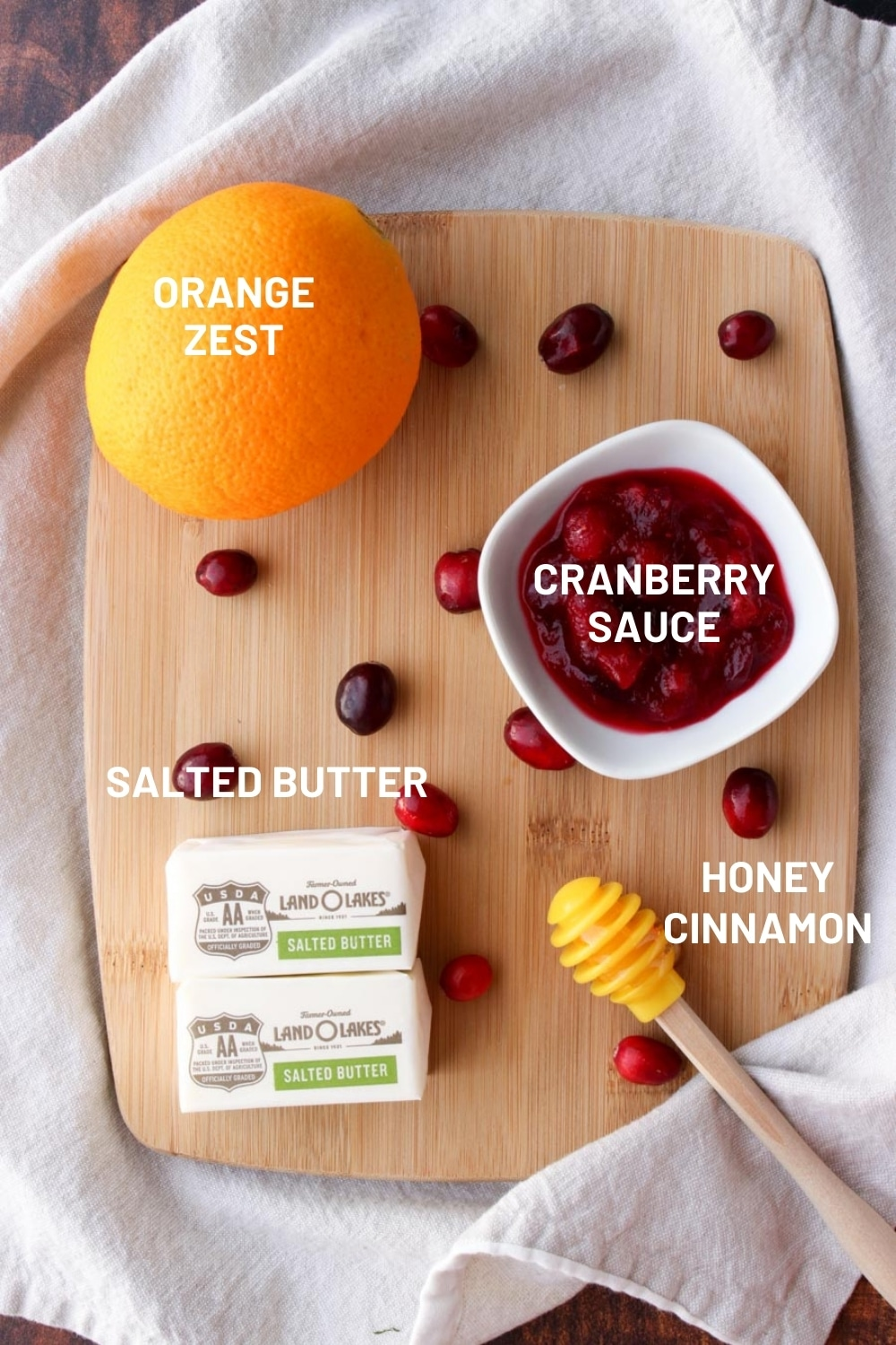 Small board with the ingredients to make cranberry butter