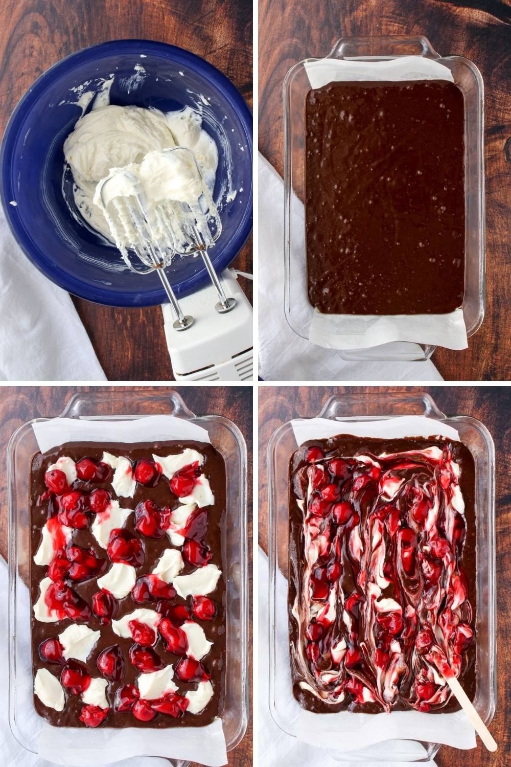 Collage showing how to make brownies