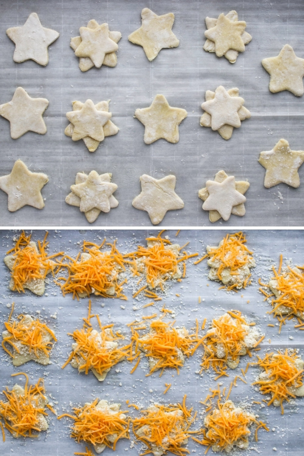 Collage showing raw puff pastry stars plain and topped with cheese