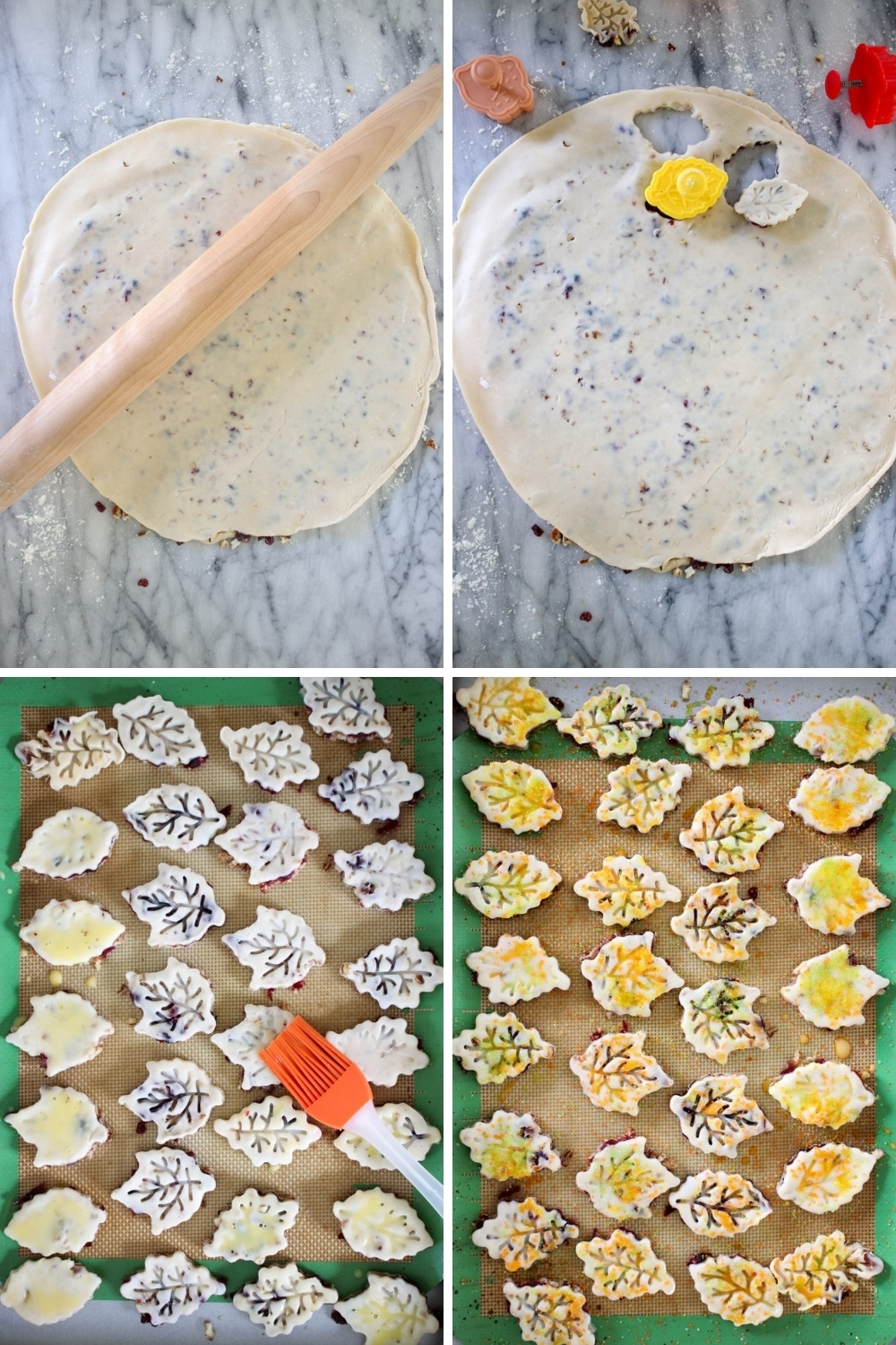 collage with step to make pie crust cookies