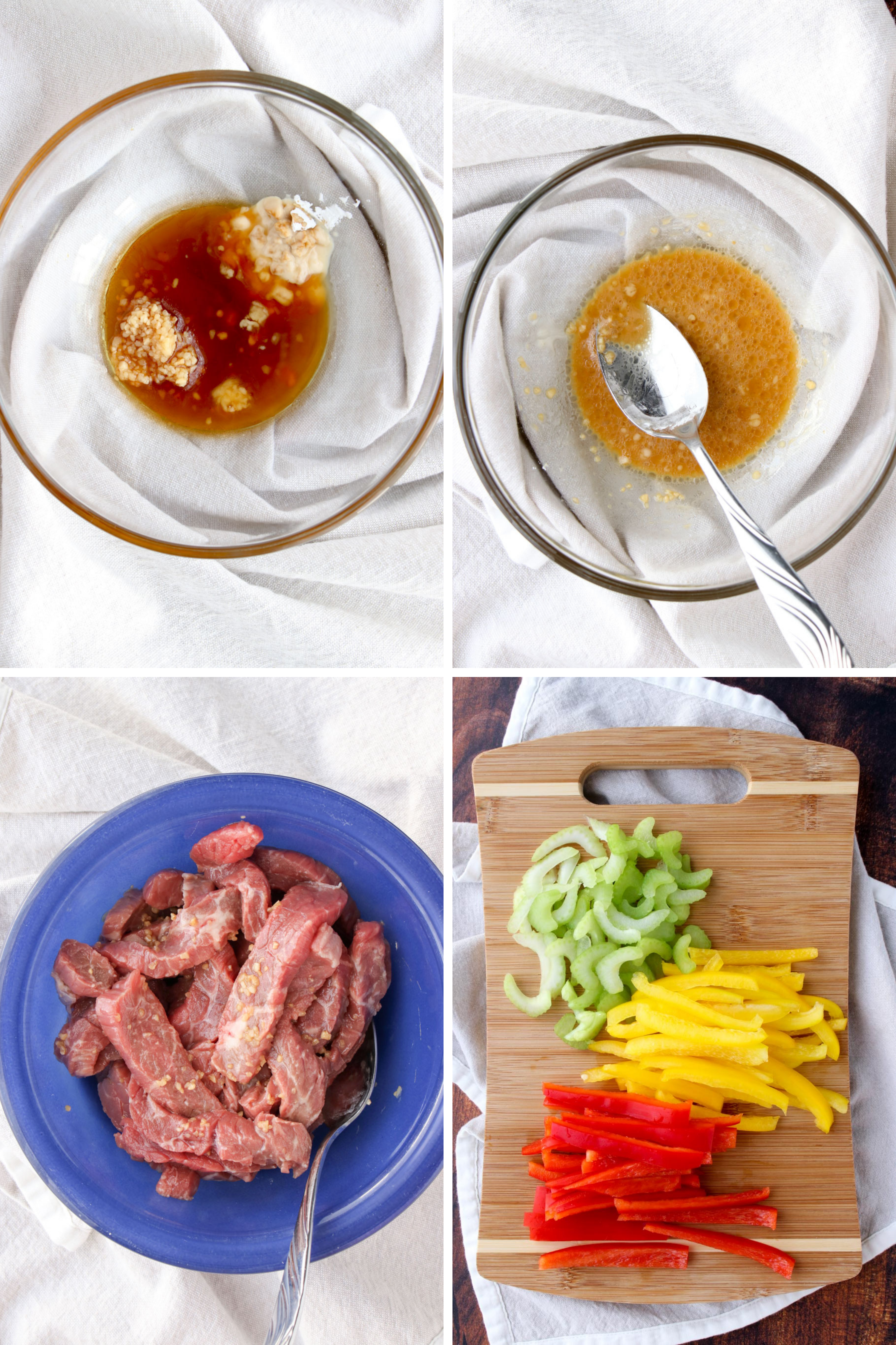 Collage of steps on how to make Chinese Black Pepper  Beef
