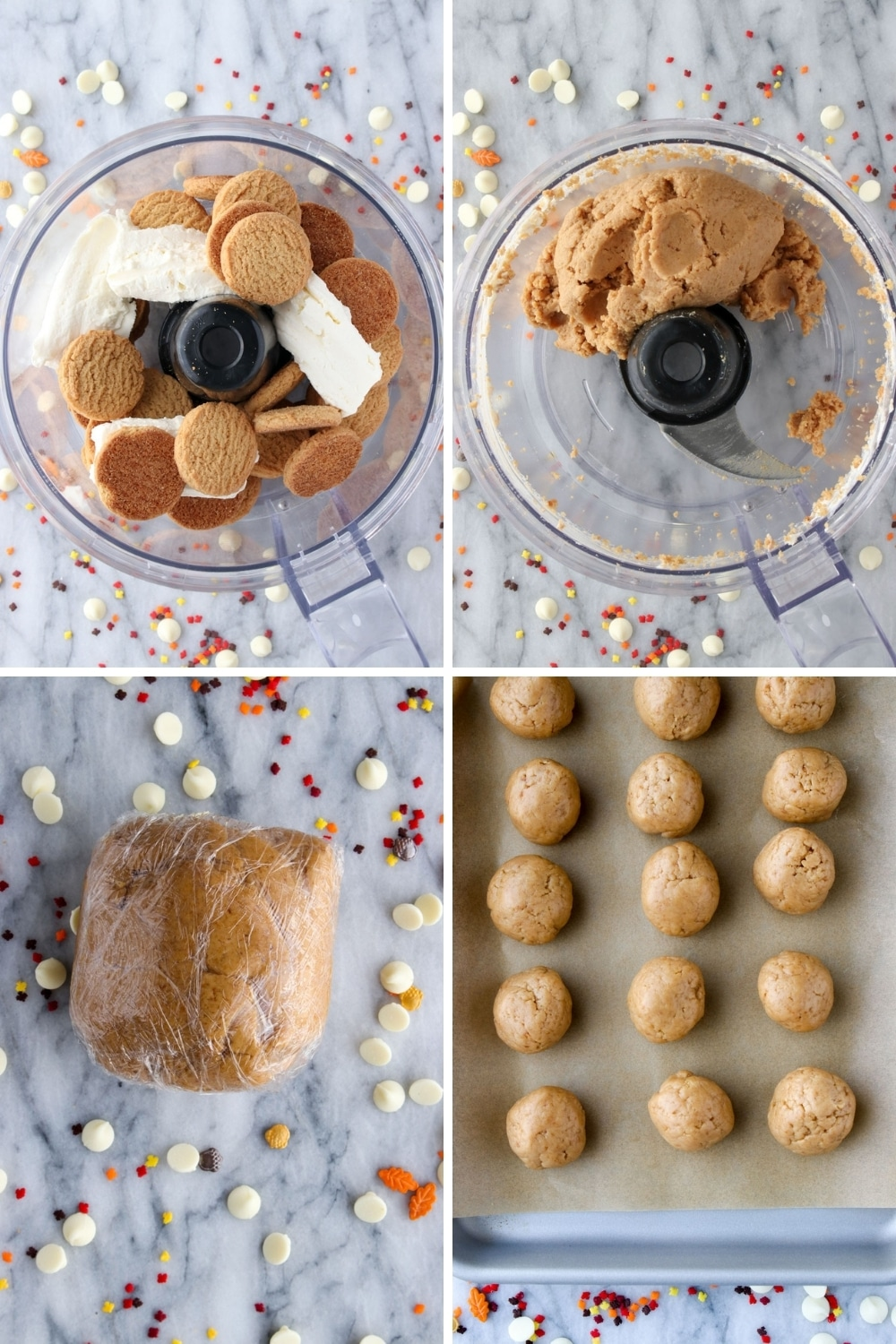 Collage showing four steps to make gingersnap truffles