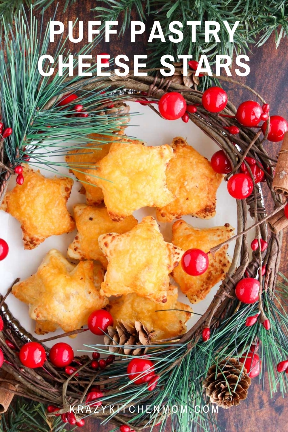 Puff Pastry Cheese Stars are an easy snack that anyone can make. They are buttery and flakey and topped with just the right amount of baked cheese.  via @krazykitchenmom