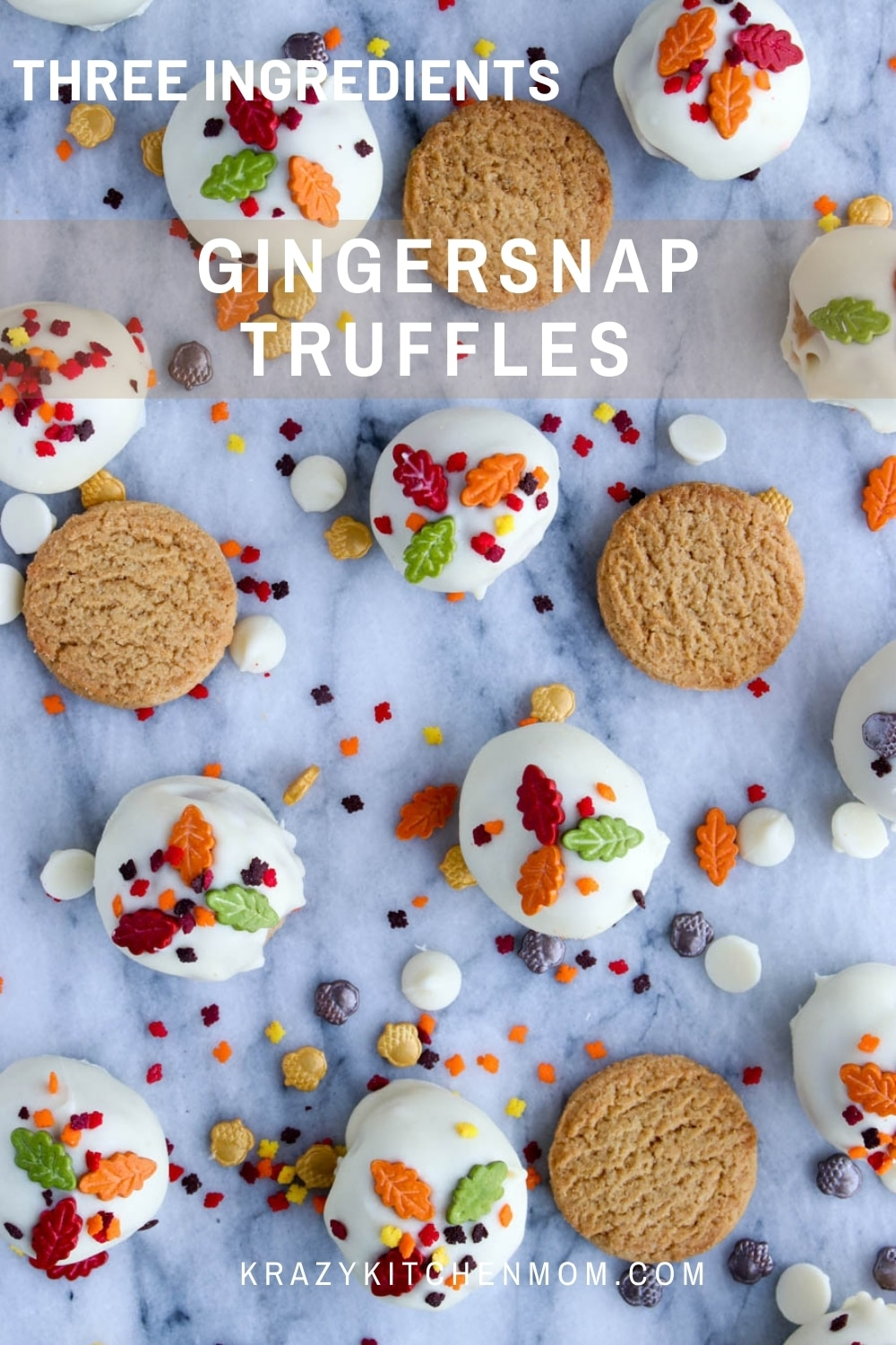 With a bag of gingersnap cookies, a block of cream cheese, and some white chocolate, you can make these yummy and fall festive truffle candies for your family and friends. via @krazykitchenmom