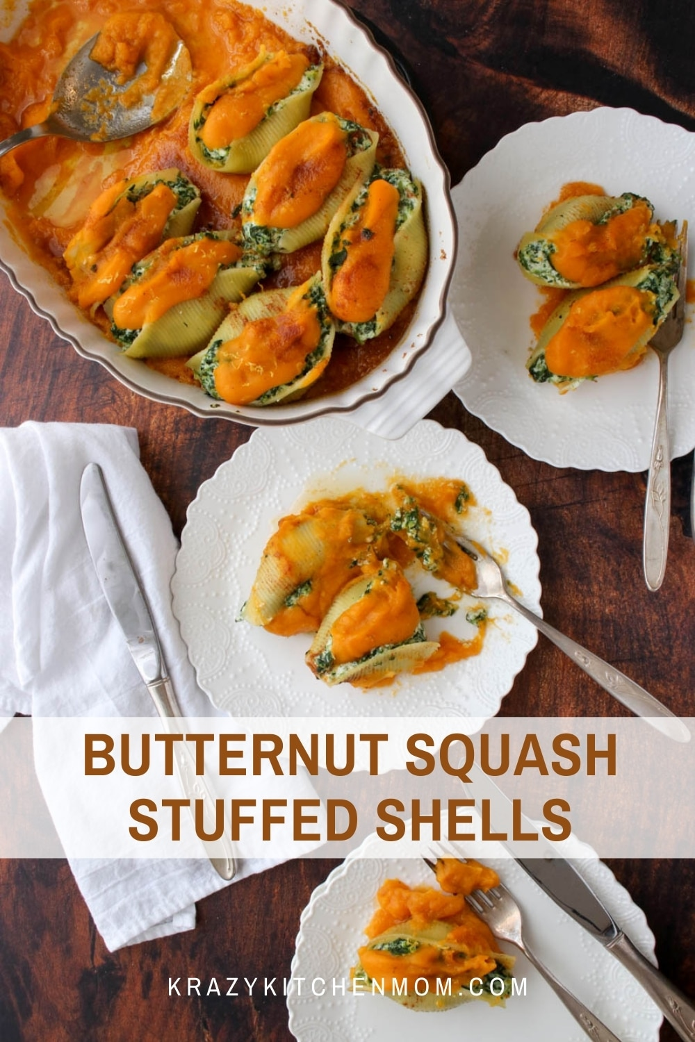 Meatless Mondays just got a whole lot better with my butternut squash stuffed shells recipe. This dish is full of creamy ricotta cheese, spinach, and butternut squash puree. It's perfect for any family dinner and impressive enough for company. via @krazykitchenmom