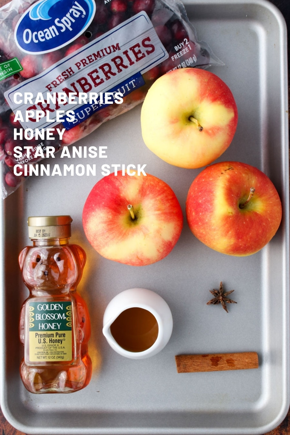Cookie sheet with cranberry apple butter ingredients