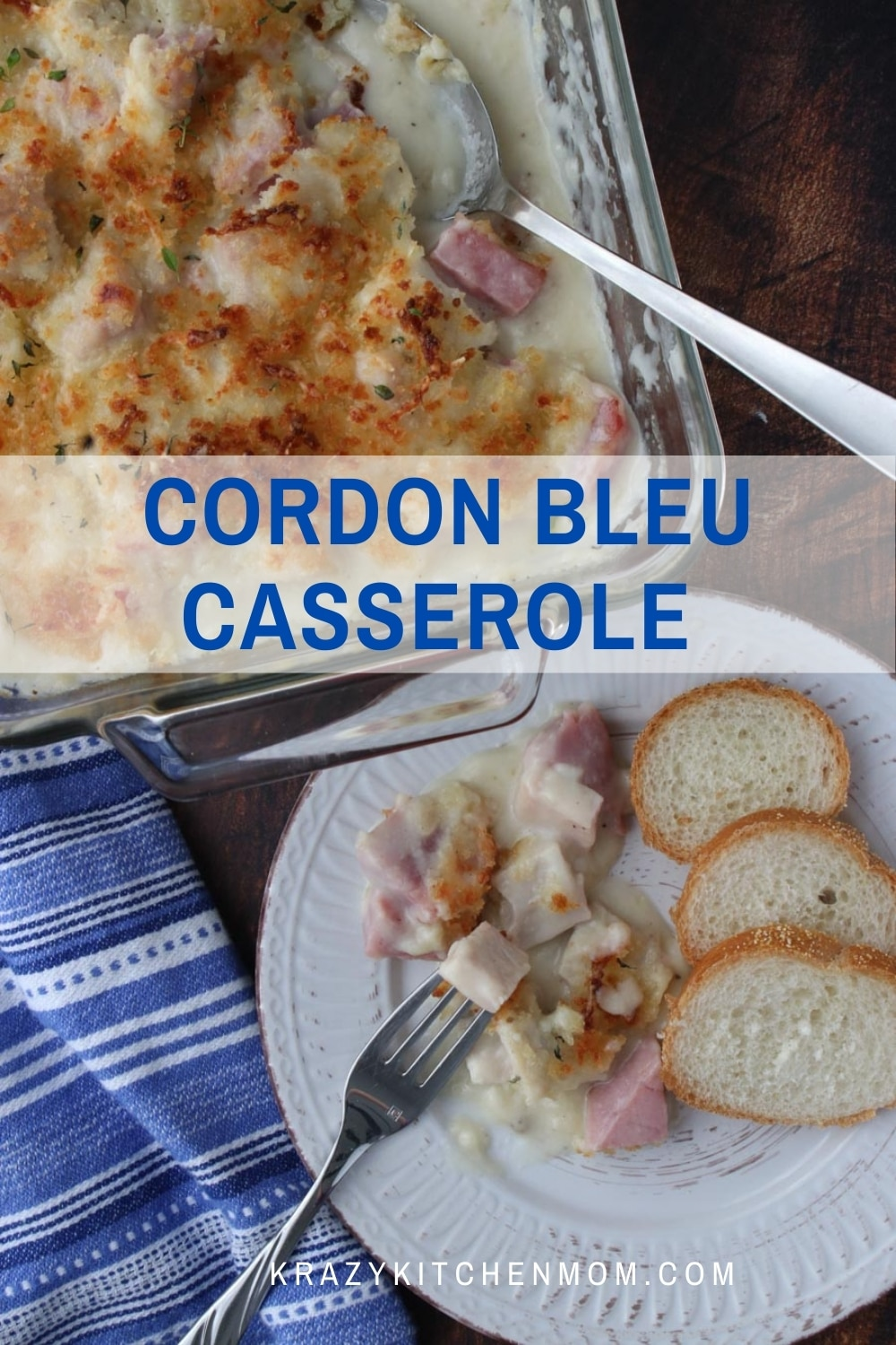 Not sure what to do with leftover turkey or ham after the holidays? Make this creamy cheesy twist on classic Cordon Bleu in a casserole. via @krazykitchenmom