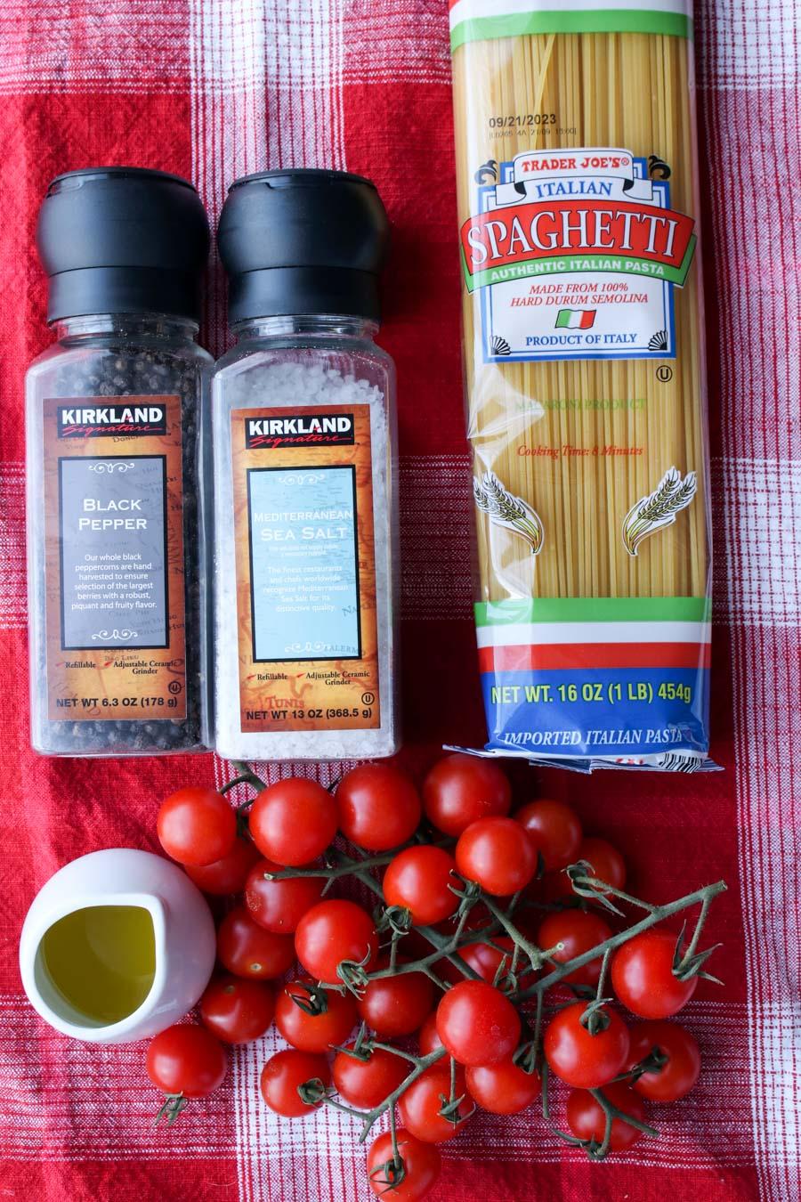 Ingredients to make burst cherry tomato pasta