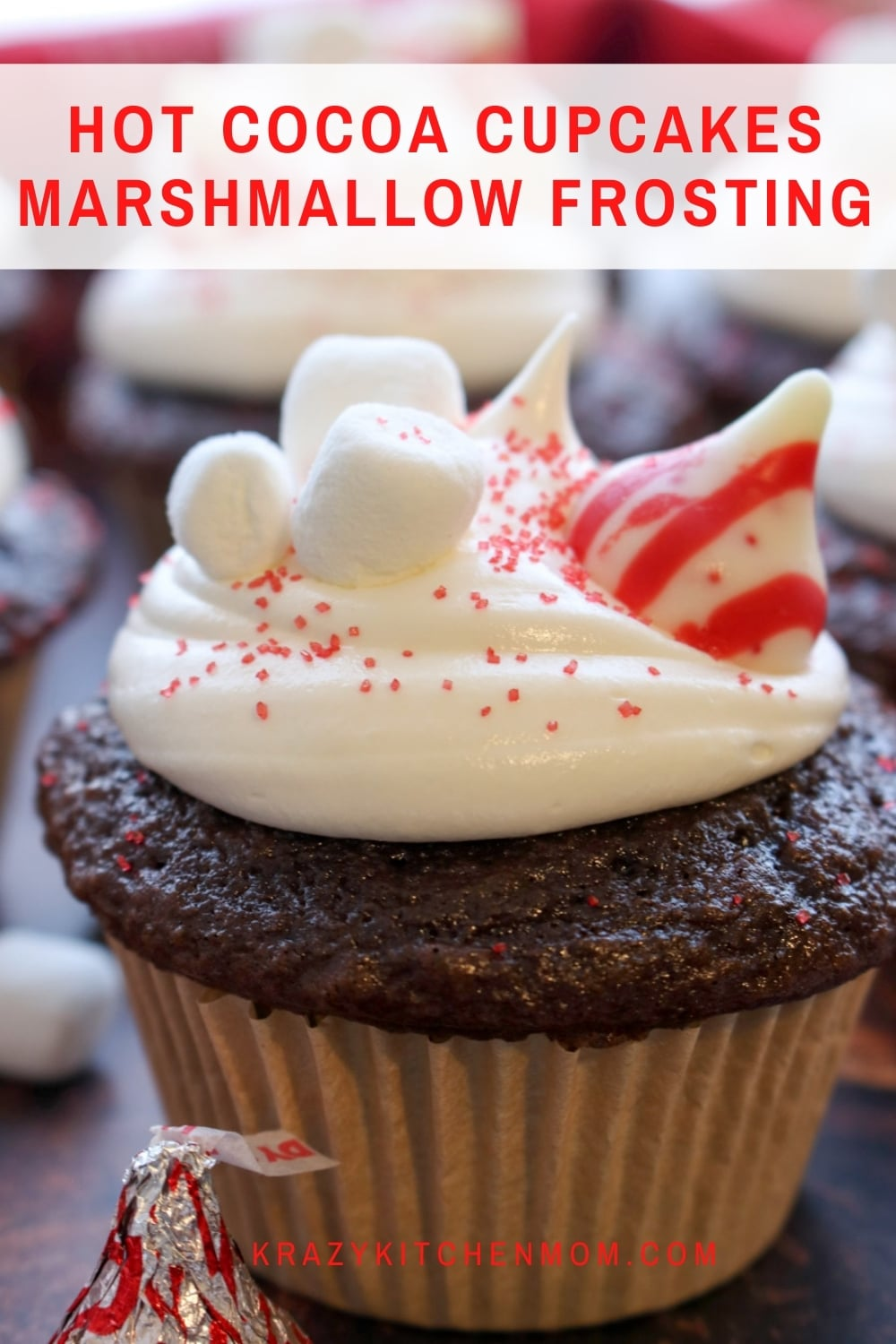 These cupcakes are made using easy store-bought ingredients for a moist, rich, and yummy flavor, topped with creamy marshmallow frosting. via @krazykitchenmom