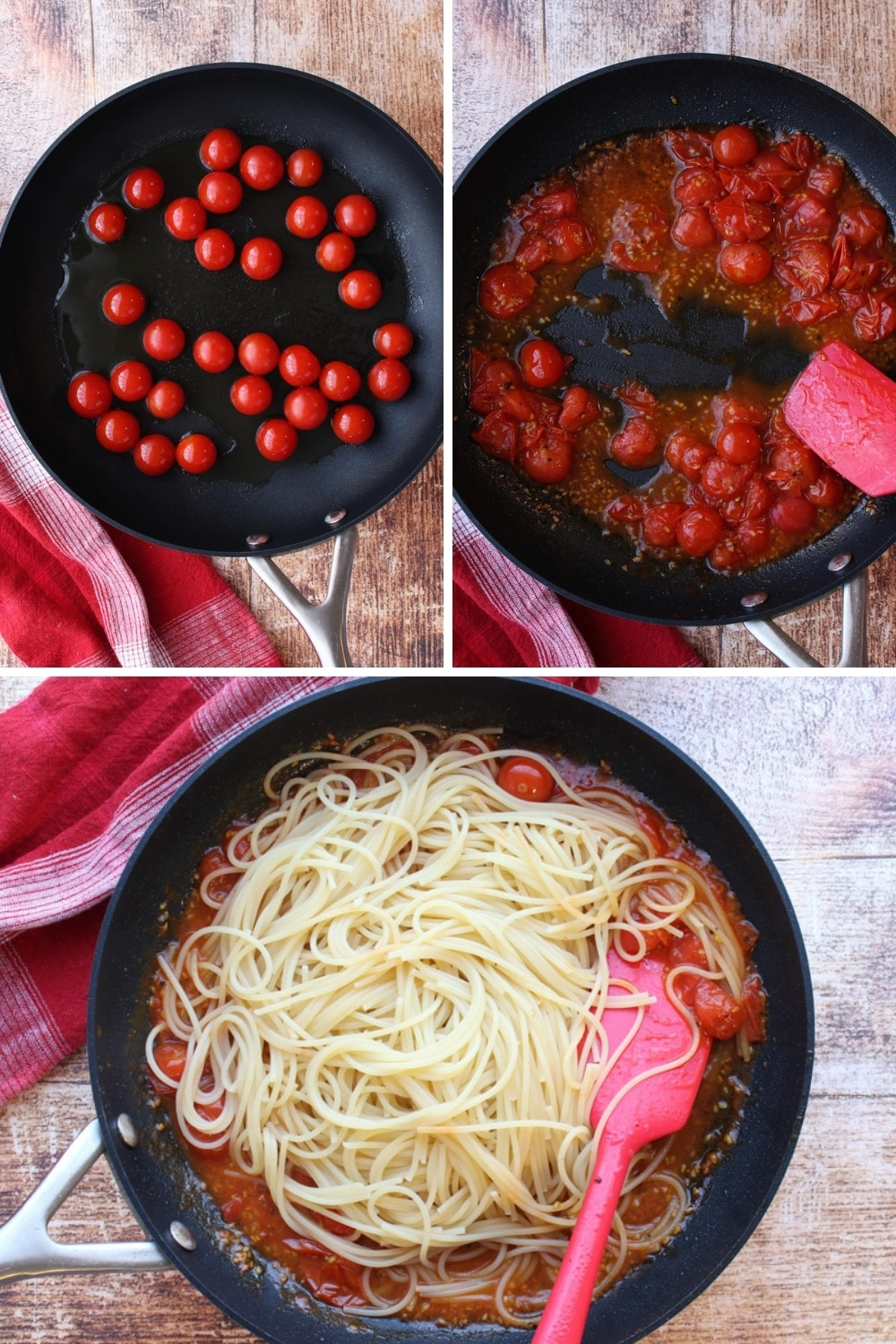 collage showing how to make burst cherry tomato pasta