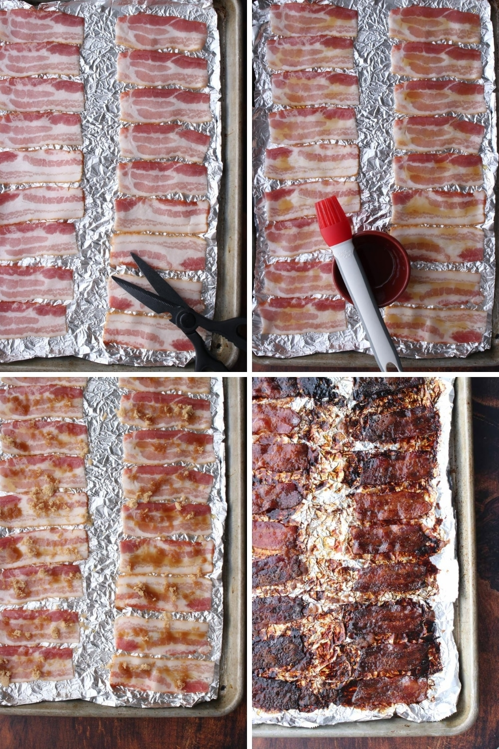 collage with steps to make candied bacon