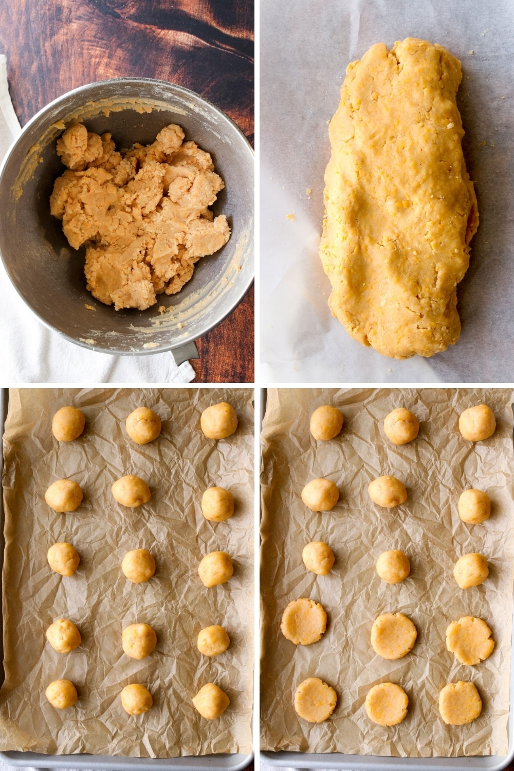 four photos showing steps to make cheese shortbread