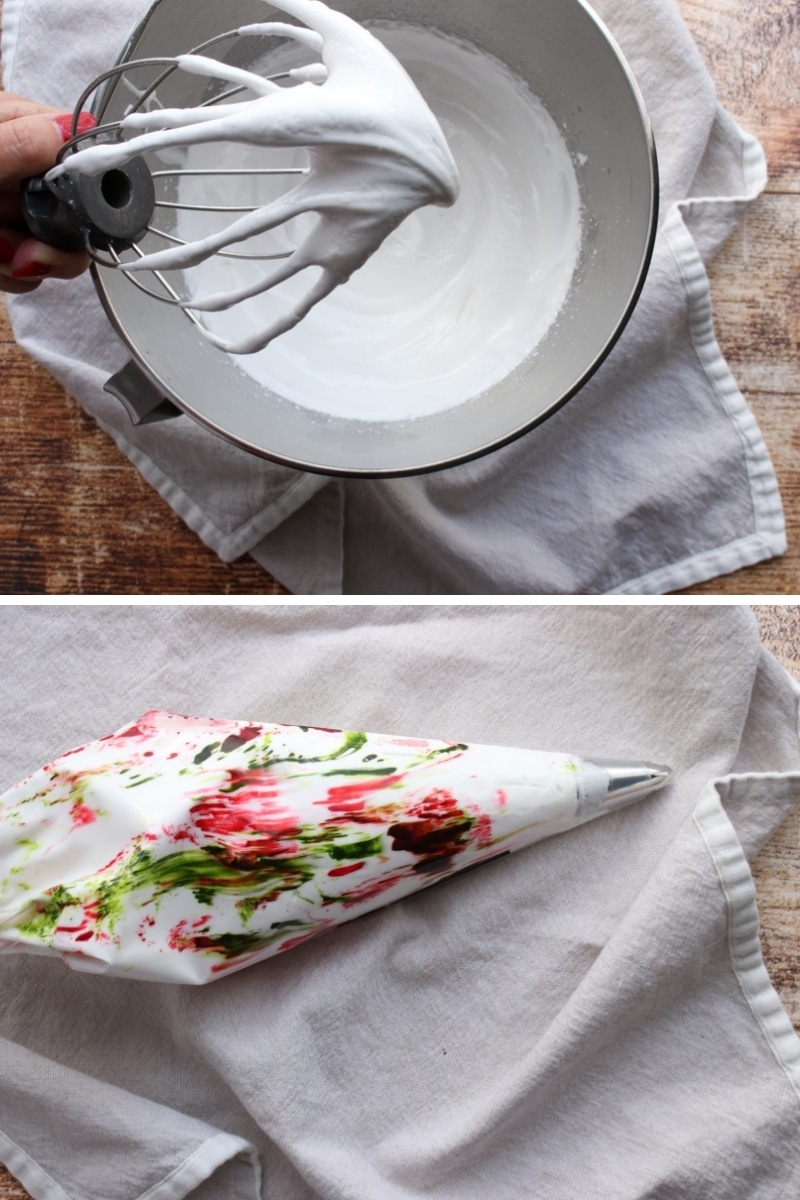 2 photos showing whipped meringue and meringue with red and green food coloring in piping bag
