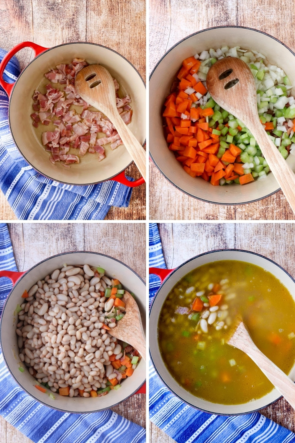 collage showing steps to make bean soup