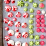 Cookie sheet with colorful meringues