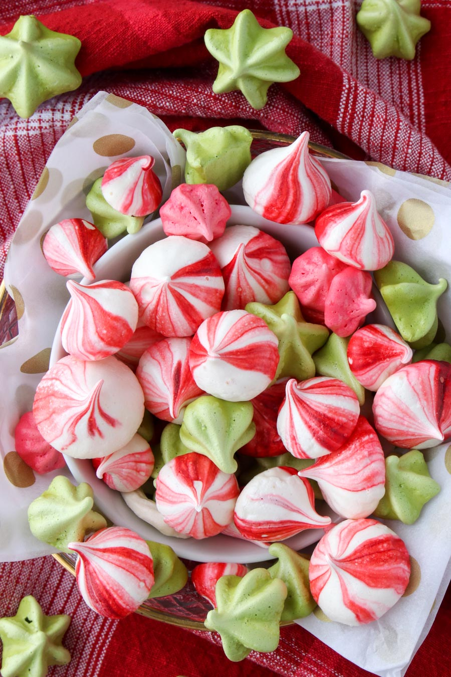 Close up of a bowl of colorful meringues