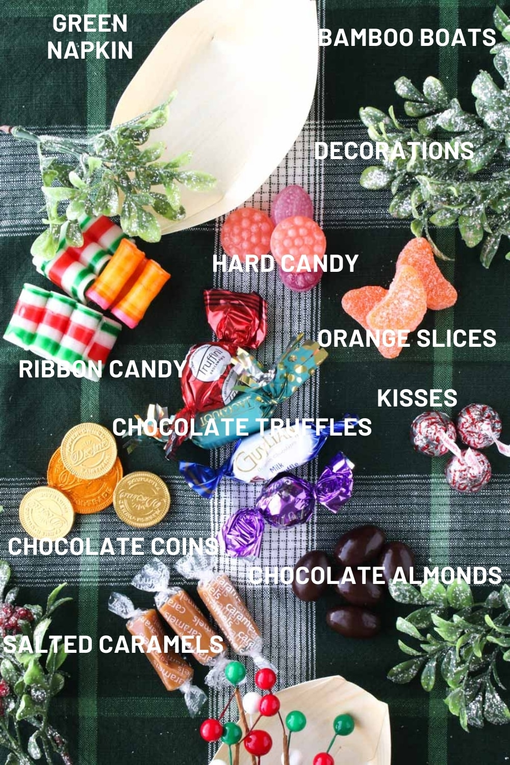 Ingredients to make a candy Christmas wreath