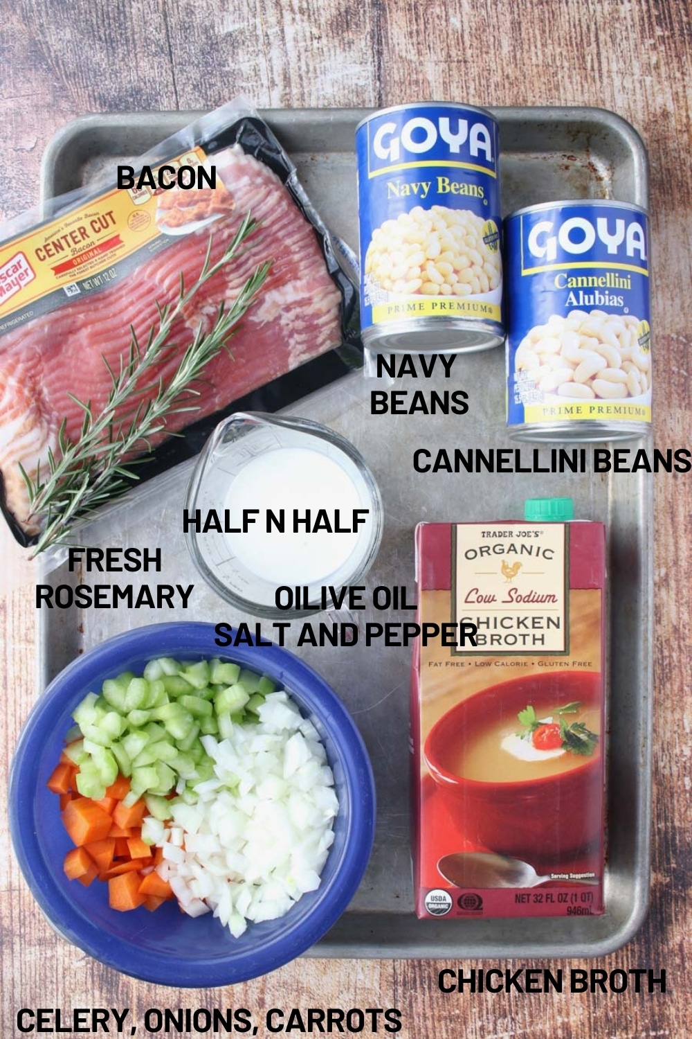 Cookie sheet with the ingredients to make tuscan bean soup