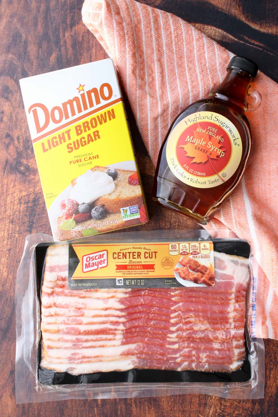 photo show three ingredients to make candied bacon