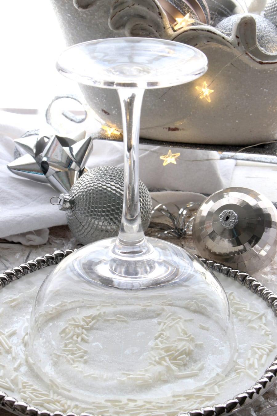 martini glass upside down in sugar