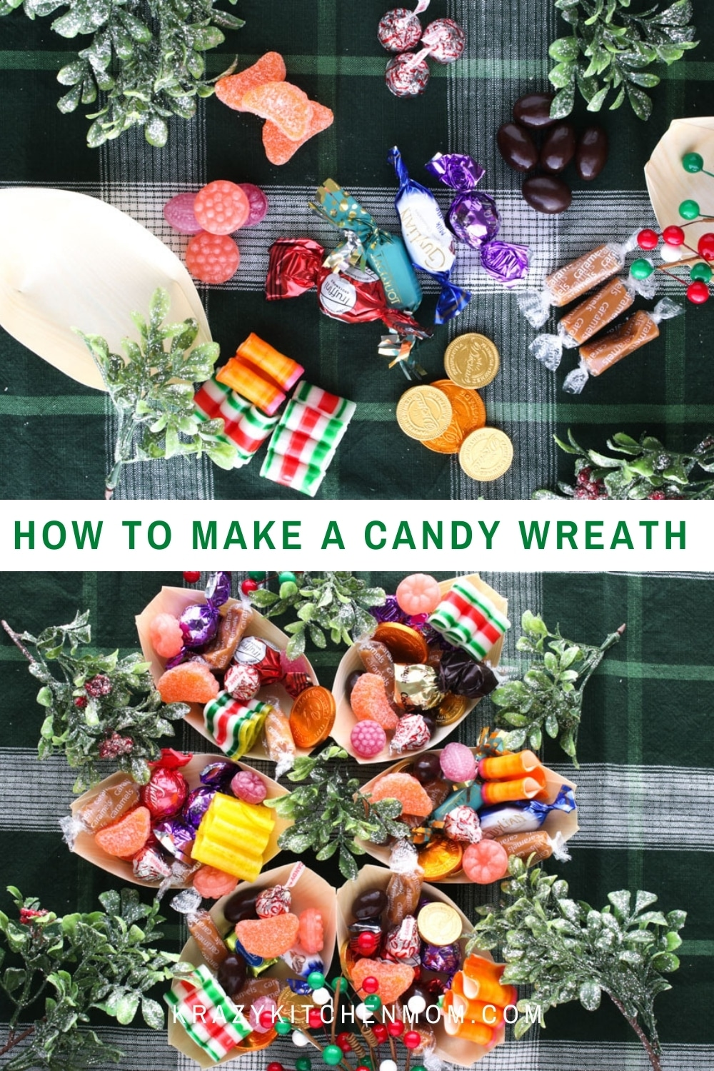 Treat your family to something extra special this holiday season and dress up your candy dish with a colorful and sweet candy wreath.  via @krazykitchenmom