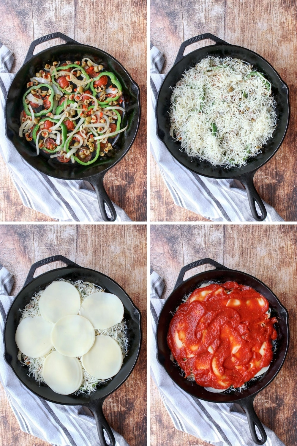collage of how to make skillet pizza