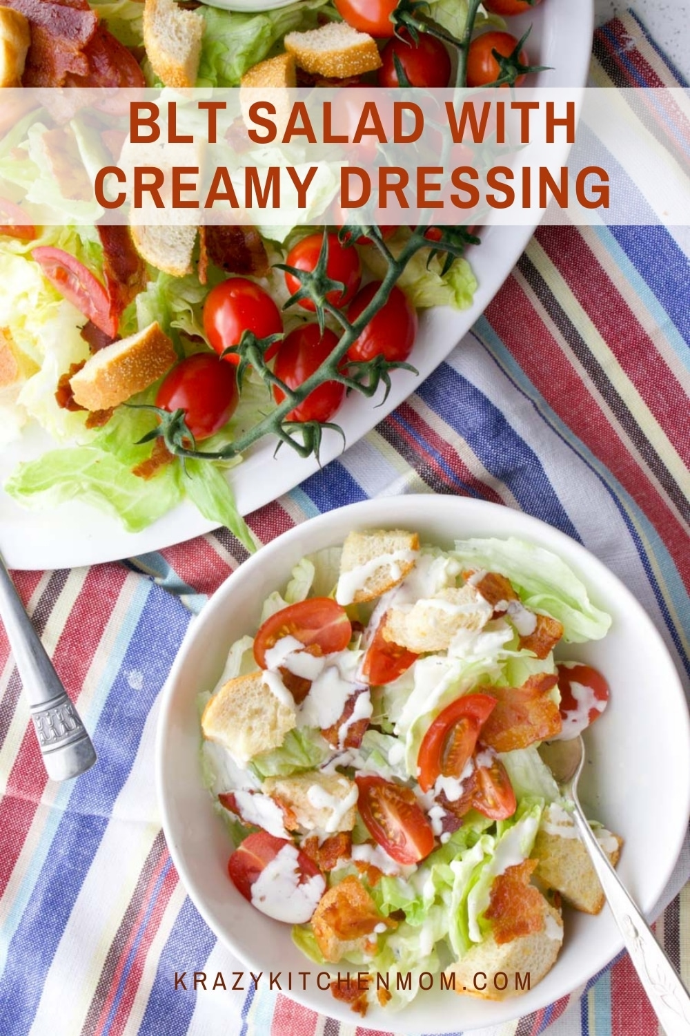 The classic flavor combination of a bacon, lettuce, and tomato sandwich transformed into a crispy, cold, refreshing salad. via @krazykitchenmom