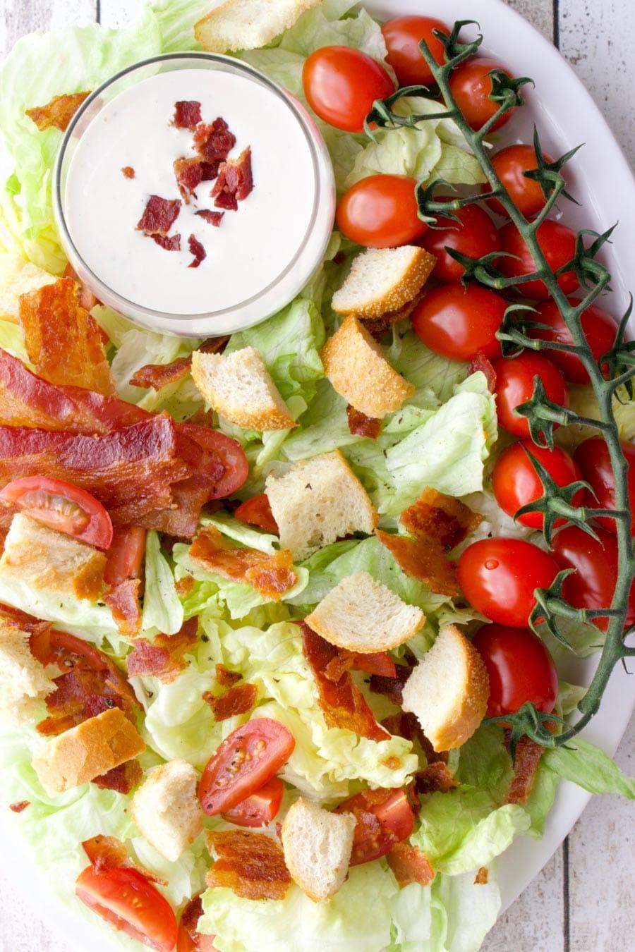 BLT salad on a serving platter