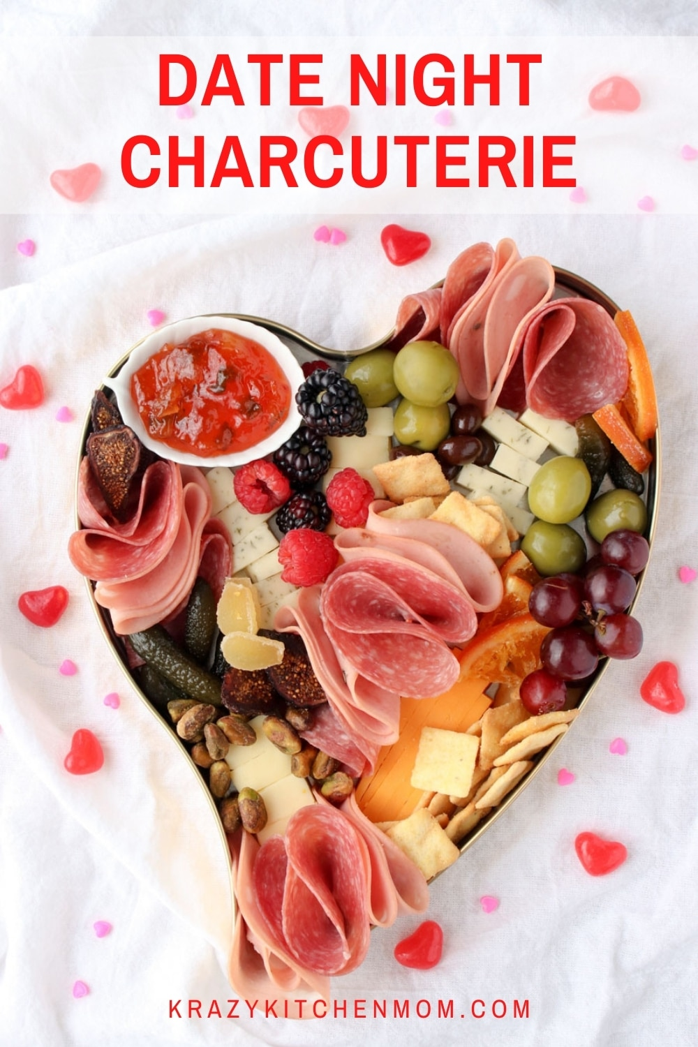 This tasty charcuterie is the perfect snack for two. Whether you are making it an official date night or settling in to watch Netflix, there's something delicious for both of you. via @krazykitchenmom