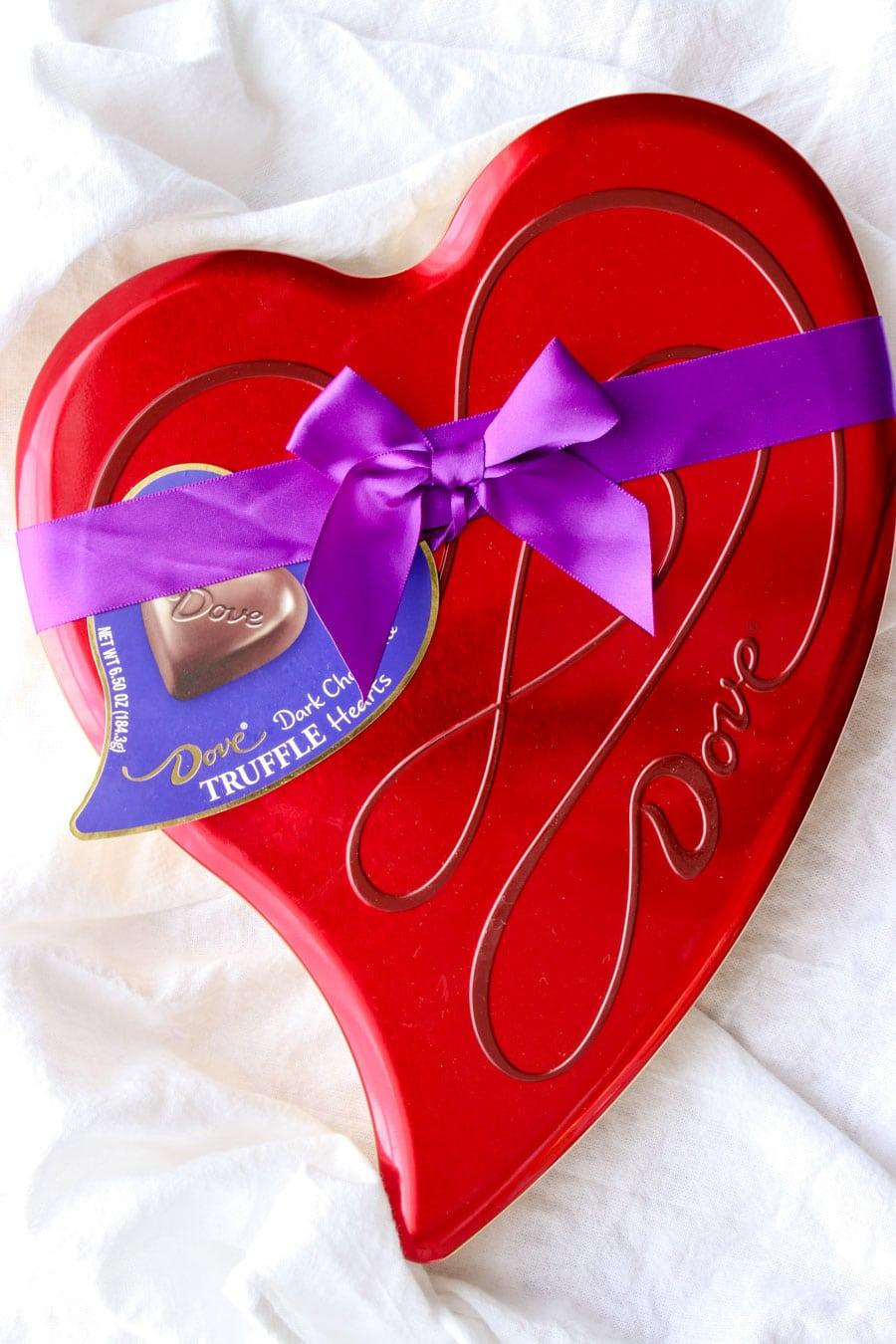 Heart shaped DOVE candy box