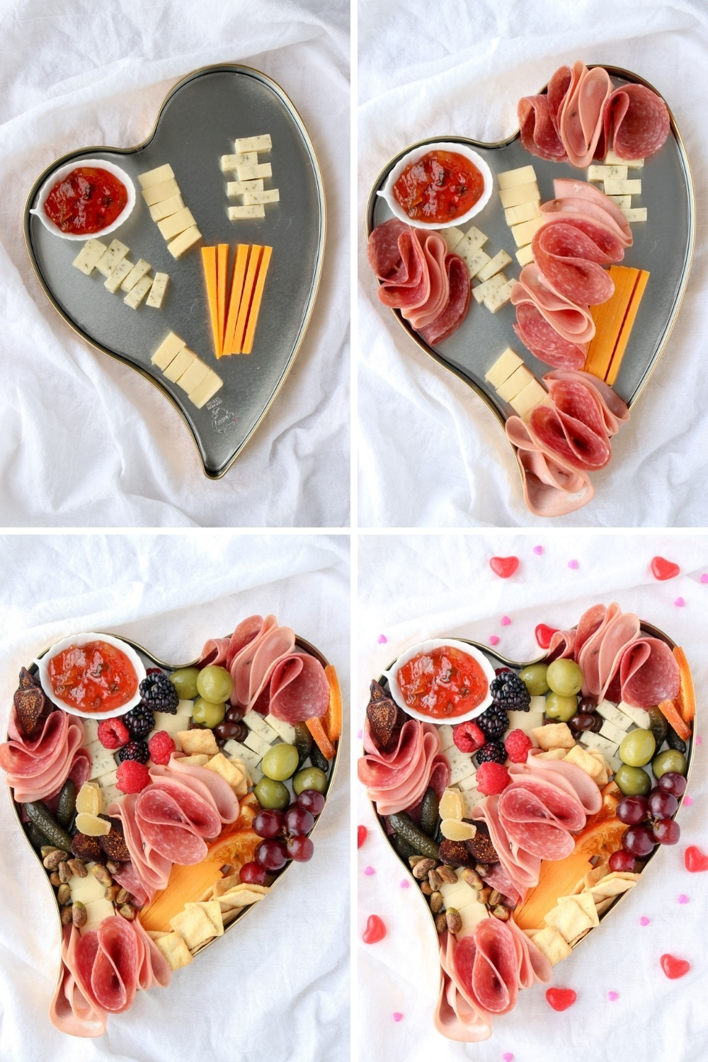 four photo collage showing how to make date night charcuterie