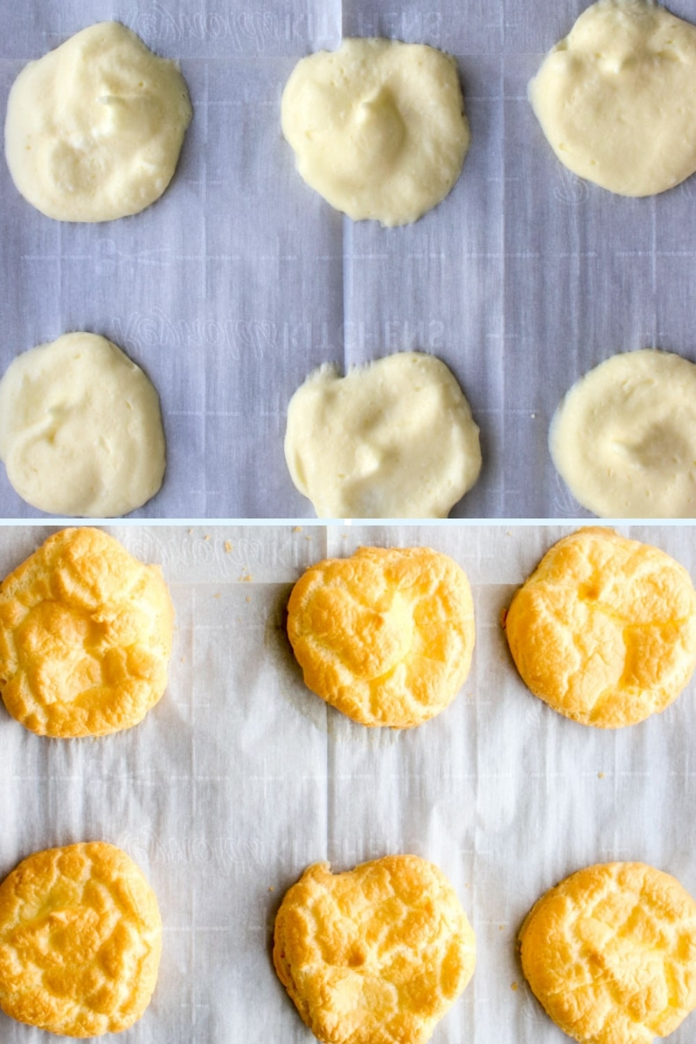 raw cloud bread and baked cloud bread on a parchment covered cookie sheet