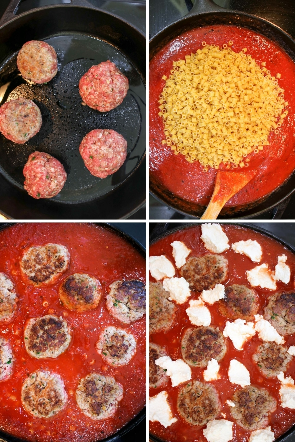 collage showing how to make meatball pasta bake
