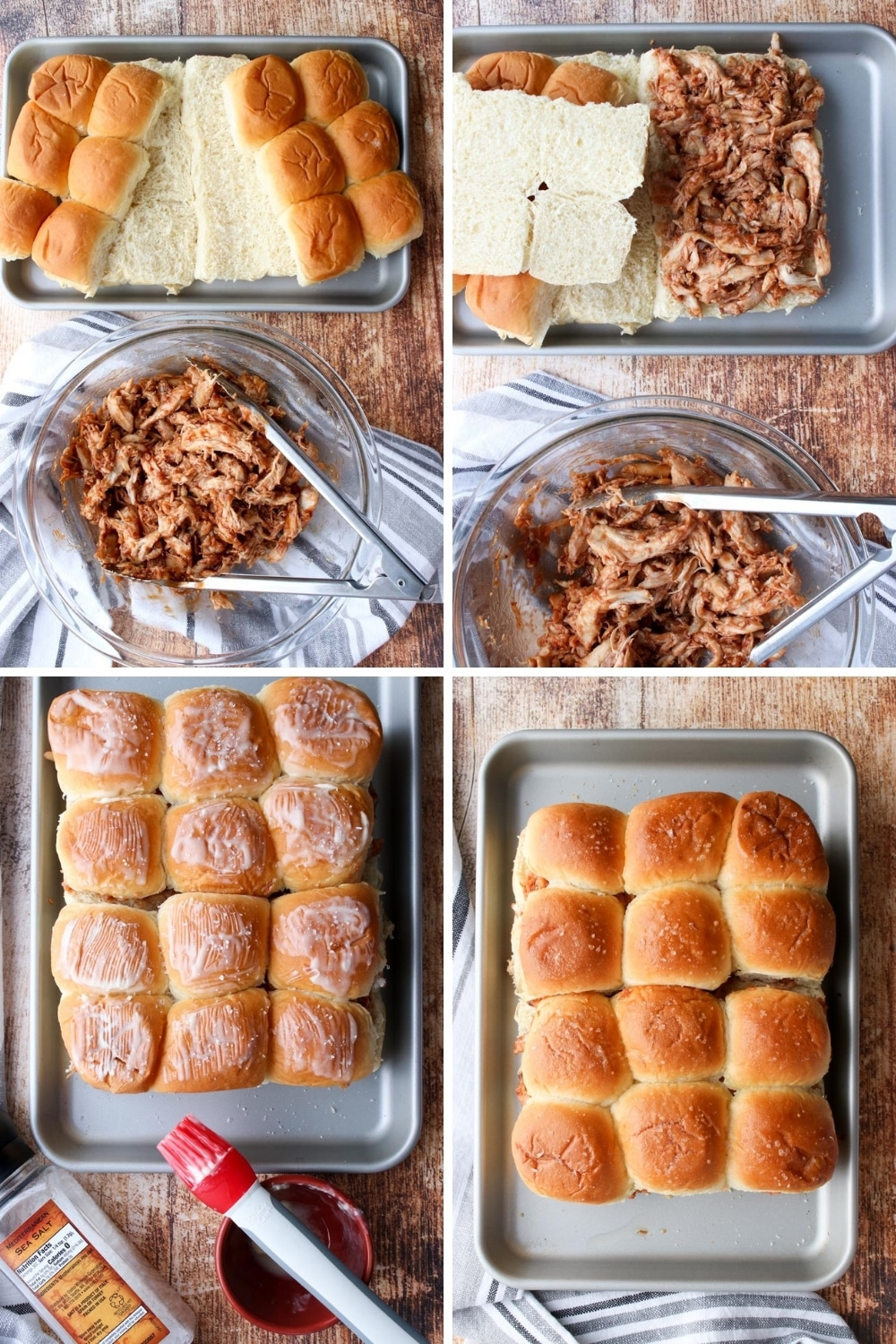 photo collage showing how to make rotisserie chicken sliders