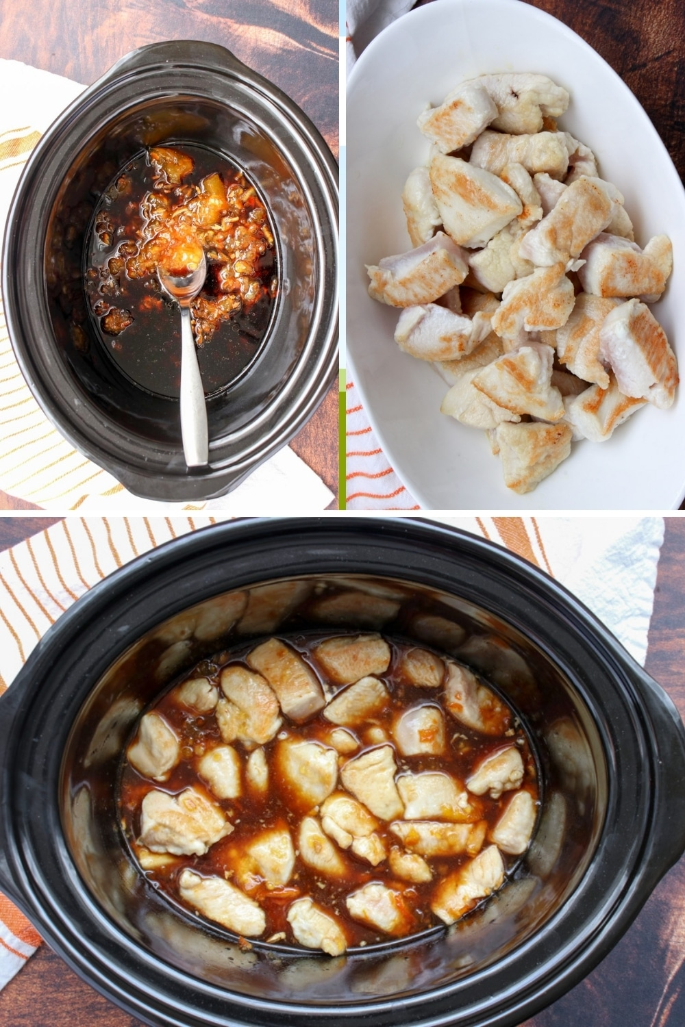 three images showing the steps to make orange chicken in the slow cooker