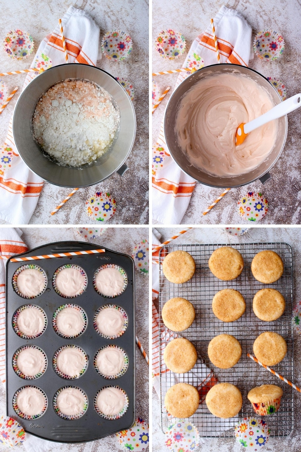 Four photos showing how to make creamsicle cupcakes