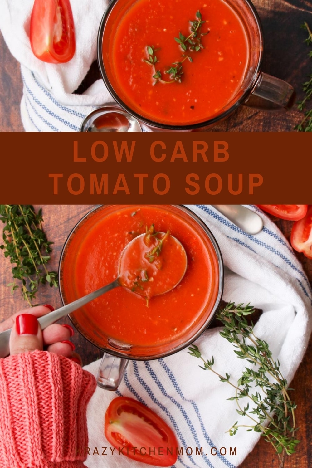 Ready in 30 minutes, you won't even miss the carbs, calories, or the cream in this Low Carb Low-Calorie Homemade Tomato Soup. via @krazykitchenmom