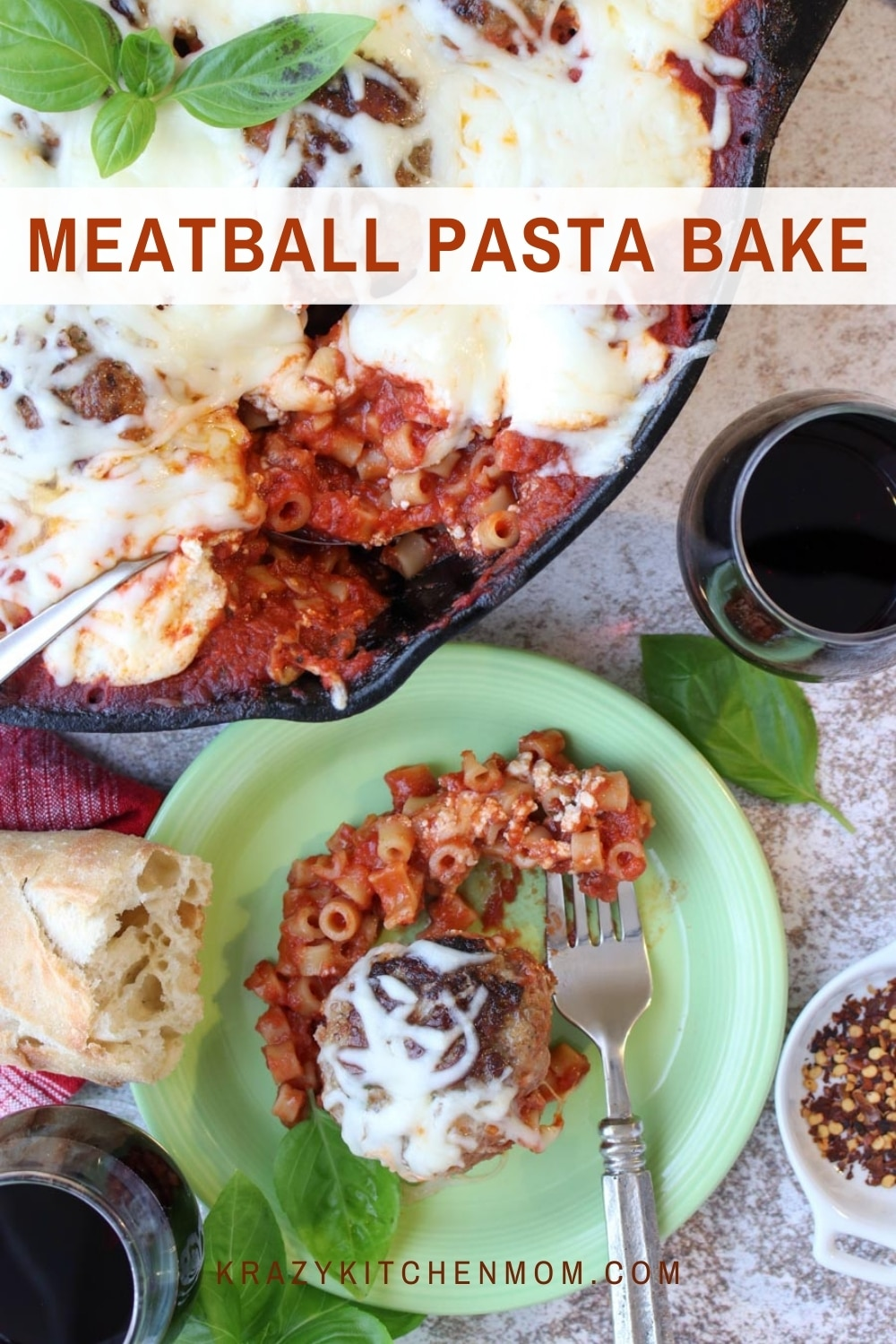 Everyone loves meatballs and pasta! This hearty baked pasta casserole is a fan-favorite for the entire family. via @krazykitchenmom