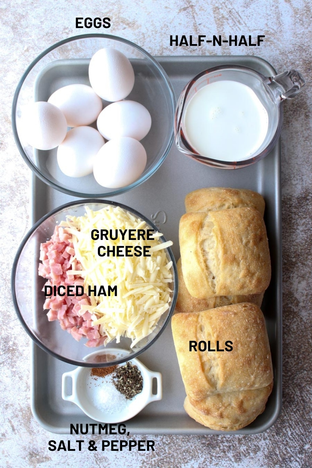 tray with uncooked ingredients to make quiche egg boats