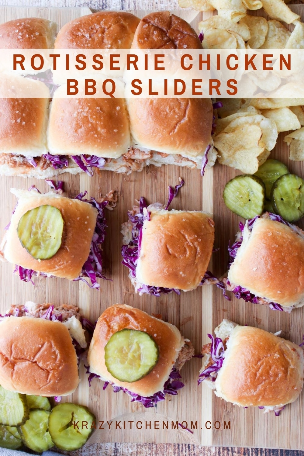 Super simple Rotisserie Chicken BBQ Sliders are made with store-bought rotisserie chicken, your favorite BBQ sauce, homemade cabbage slaw, and sweet little Hawaiian rolls. via @krazykitchenmom